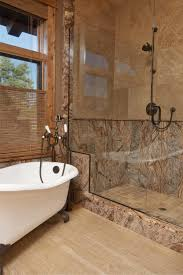 Intricate texture on the outer shell and inside of the shower give this  bathroom space its