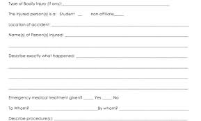 Child Care Incident Report Example Injury Incident Report Template Incident Report Form Example