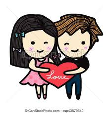 Cute Couple In Love Holding Heart Cartoon Illustration Adorable In Love Cartoon