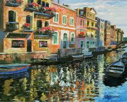 howard behrens venetian balconies hand embellished signed art giclee on canvas