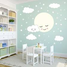 full moon with clouds stars wall decal