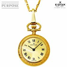 エドックス edox watch pendant watch rolling by hand necklace antique gold clockface