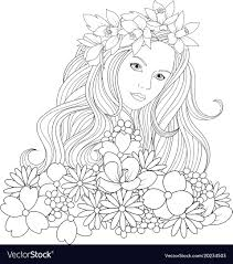 beautiful girl coloring pages. Exellent Girl Beautiful Girl Coloring Pages Vector Image Intended Girl Coloring Pages