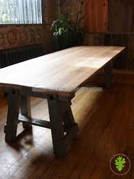 industrial look dining table. reclaimed pitch pine table with trellis legs industrial look dining