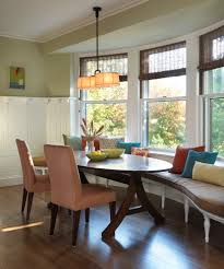 dining room table with upholstered bench. Image By: Rachel Reider Interiors Dining Room Table With Upholstered Bench T