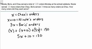 solve word problem with 3 unknowns module 3