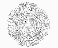 Aztec Calendar Coloring Pages Coloringsuite For Aztec Coloring