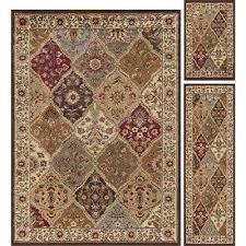 elegance multi 5 ft x 7 ft 3 piece rug set