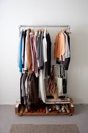 ... Wardrobe Racks, How To Make Garment Rack Diy Clothes Rack Garage Sale  Attractive Brushed Silver ...