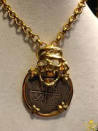details about pirate skull 14kt gold pendant w silver repo reales treasure jewelry necklace