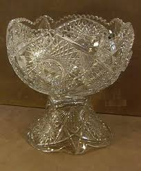 cut glass punch bowl and base leaded crystal on bohemian set value