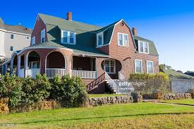 House With Brown Shingles And Green Front Yard, York, Maine. : Stock Photo