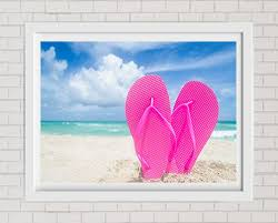 fine art print pink flip flops on the