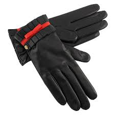 women s black leather gloves with red bow