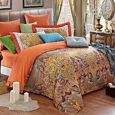 light tan orange and gold indian tribal pattern and paisley park print luxury embroidered design full size bedding sets