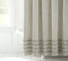 barn shower curtain ticking stripe ruffle shower curtain pottery barn black within designs pottery barn shower