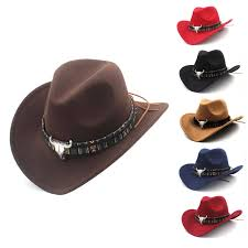 details about mens womens western cowboy hat wide brim cowgirl jazz cap charms leather band