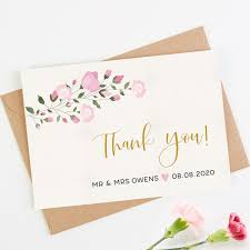 Pink Flowers Wedding Thank You Card