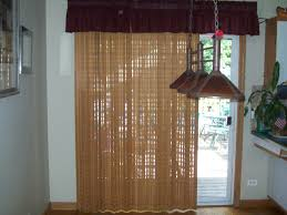 Scenic Ceiling Satin Nickels Hanging Lamps With Handmade Brown Fabic Over  Valance And Brown Nets Curtain Patio Door Window Treatments For Front Areas  Home ...