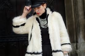 h m trend paris collection white faux fur coat zara over the knee boots primark necklace h m hat