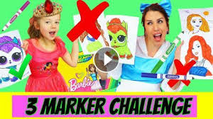 3 Marker Challenge With Barbie Lol Surprise Baby Dolls Coloring Pages
