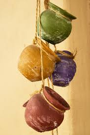 Download Hanging clay pots stock photo. Image of twine, colorful - 39310602
