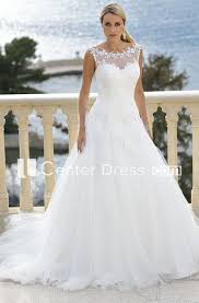 Scoop Floor Length Appliqued Tulle Wedding Dress With Court Train And Illusion