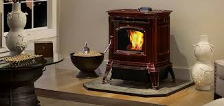absolute43 pellet stove shown in porcelain majolica brown with optional harman protect hearth pad