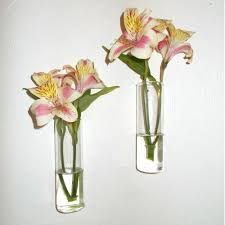 amazoncom set of two hand blown glass wall vases home  kitchen