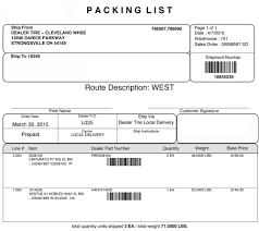 delivery installation dealer tire sample packing list