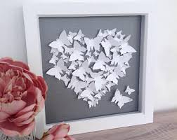 3d butterfly heart wall art frame perfect for an engagement wedding or anniversary gift 23cm x 23cm x 3 5cm on 3d paper heart wall art with butterfly heart etsy