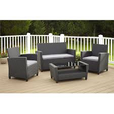 patio couch set  piece outdoor patio furniture set in grey resin wicker and cushions