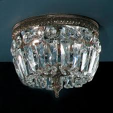 classic lighting crystal baskets 8 in w roman bronze crystal flush mount light