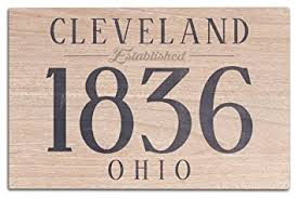 cleveland ohio established date blue 10x15 wood wall sign wall on cleveland wood wall art with amazon cleveland ohio established date blue 10x15 wood