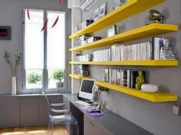 gray yellow home office