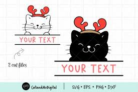Svg offers the sweet taste of tiny file size plus excellent browser support and the ability to scale graphics infinitely. Christmas Cat Monogram Frame Svg Graphic By Catandme Creative Fabrica