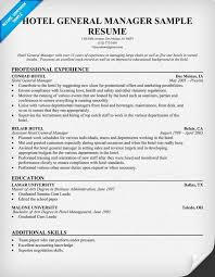 Gallery Of Hotel General Manager Resume Resume Samples Across A