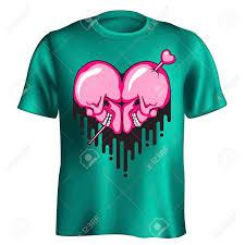 Heart Shape Design T Shirts Human Skull Heart Shape With Paint Flow T Shirt Print Design