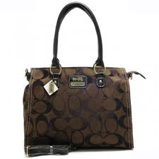 Coach Top Zip In Signature Large Brown Satchels APB