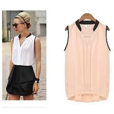 Womens <b>White Black</b> Tops Blouses Sleeveless <b>Black</b> Shirt Blouses ...