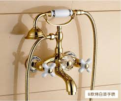 golden bathroom shower column faucet wall: brand new high quality brass material gold finished wall mounted bath faucet set shower faucet set