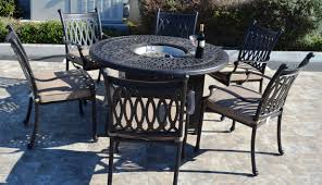 grand tuscany 7 piece dining set 6 dining chairs 1 round propane firepit dining