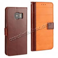 whole crazy horse color splicing pu leather case for samsung galaxy s7 edge with wallet card