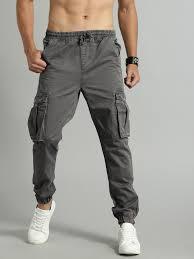 Buy Roadster <b>Men</b> Grey Regular Fit <b>Solid</b> Cargos - Trousers for <b>Men</b> ...