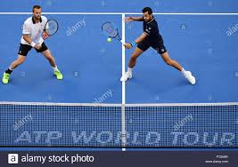 Beijing, China. 6th Oct, 2018. Oliver Marach (L) of Austria and Mate Pavic  of Croatia compete during the men's doubles semifinal against Ivan Dodig  and Nikola Mektic of Croatia at the China