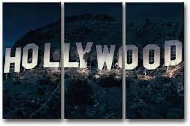 The hollywood theater wall mural will bring you to the days of yesteryear. Amazon Com So Crazy Art 3 Pieces Wall Art Painting Hollywood Sign In Mountain Prints On Canvas The Picture City Pictures Oil For Home Modern Decoration Print Decor For Furniture Posters Prints