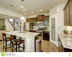 Kitchen Granite Island Wood Classic Large Kitchen With Granite Island Royalty Free Stock