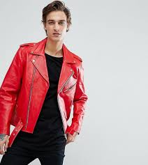 reclaimed vintage inspired real leather biker jacket red goxip indonesia