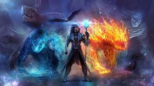 Hd Wizard In Ice And Fire Wallpaper Fire And Ice Wizard