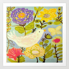 Bird and Butterfly Flowers by Karen Fields Art Print by karenfields |  Society6